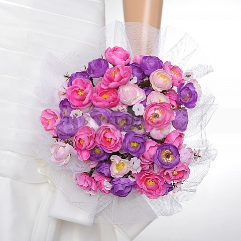 Tulle Wrapped Fuchsia and Purple Rose Wedding Bouquet