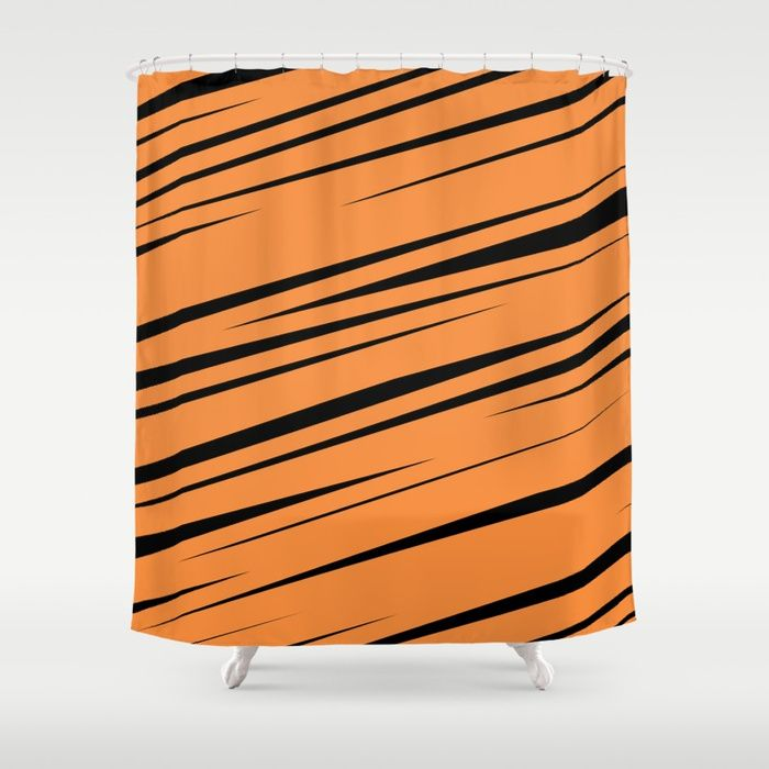 $68.99 Made from 100% polyester our designer shower curtains feature a 12 button-hole top for simple hanging. #shower #curtain #bath #home #decor #lines #stripes #scribble #doodle #modern #creative #pattern #orange #black #abstract #buyart #society6 #gift #giftideas