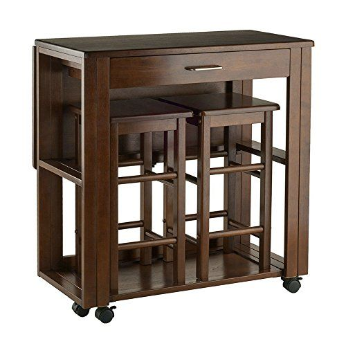 Counter Height Folding Table With Stools Drawer Wooden Walnut Finish Bar Cart Flip Up Counter Portable Counter Height Kitchen Table Breakfast Bar Table Table