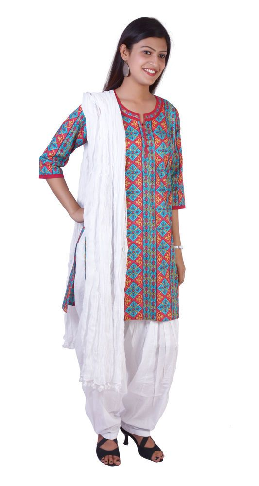 Patiala Salwar Wth Kameez Kurti Printed Indian Ethnic Combo Women Cotton Casual #JKK #KurtiWithPatialaSalwarPant