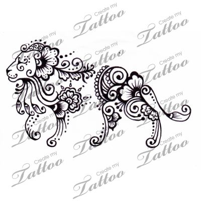 Marketplace Tattoo Henna lion #1204 | CreateMyTattoo.com