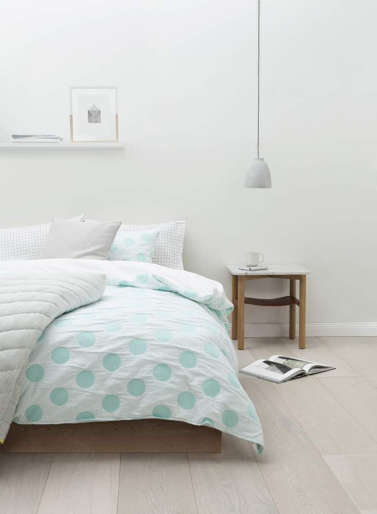 Refresh the bedroom with the Calni quilt cover, featuring an embroidered spot pattern against crisp white cotton. Country Road Home - Spring 2014
