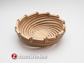Experimenting a bit more with spiral design and wood bending, this small bowl came to life. It turned out, that a little fixation using small brackets is needed. My build was done on a desktop cnc-machine by Stepcraft from 6 mm birch plywood using a spiral-toothed 1.2 mm flute. Visit https://www.zenziwerken.de/en/ for more interesting designs.