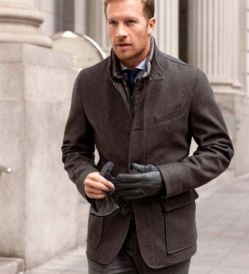 Grey Wool Military Style Jacket, and Black Leather Gloves. Men's Fall Winter Street Style Fashion.
