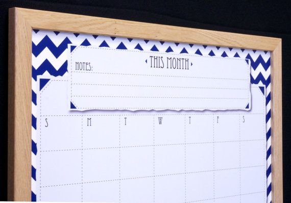 Navy Chevron Framed Whiteboard Wall Calendar - Blue/White Zig Zag Calendar Dry Erase Board -Family Planner -Command Center -Office Organizer