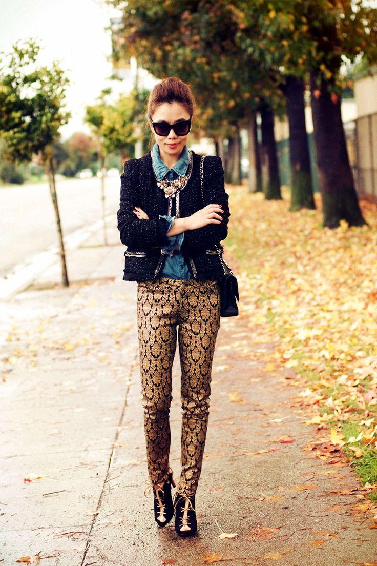 Brocade Pants + Tweed - Haillie Daily