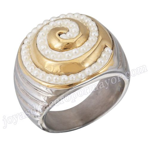 Material :stainless steel   Item name:Nuevo diseno anillo de acero inoxidable 316l con perla, de forma caracol   Model No.:SSRG229   weight:14.2G   Size:US size #7 #8 #9 #10