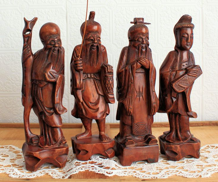 Vintage Carved Wooden Old Wise Man, Handmade ,Carving, Bearded, Sage,4 Old Chinese Men, Carved Sculpture,Red Brown Wooden Ethnic Figurines by TreasuresByJana on Etsy