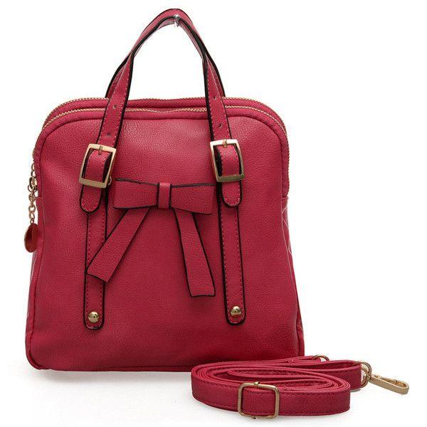VK Fushia - Vintage Front Bow Top Zip Shoulder Bag