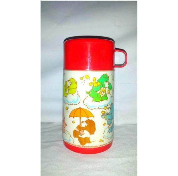 Vintage Care Bear Thermos,Aladdin Thermos, 1985, Care Bears, Vintage Care Bears, Insulated Hot Cold Thermos, Vintage Kids Thermos http://etsy.me/2AGkQ1Y #housewares #red #rainbow #no #plastic #vintagethermos #vintagevacuumflask #drinkcarrier #hotcoldbeverage