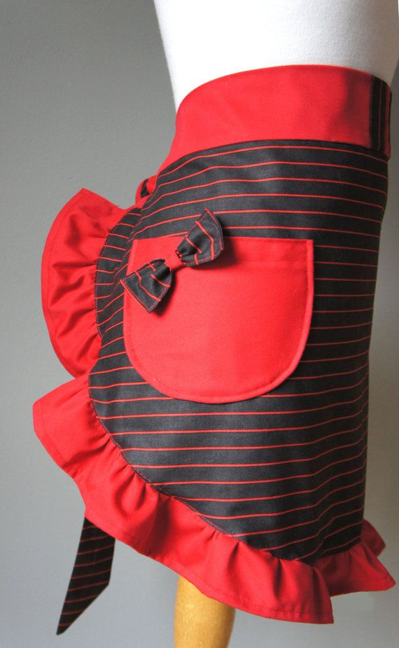 Holiday Apron  Mrs Claus Christmas Apron Red and by PolitelyPink, $36.00