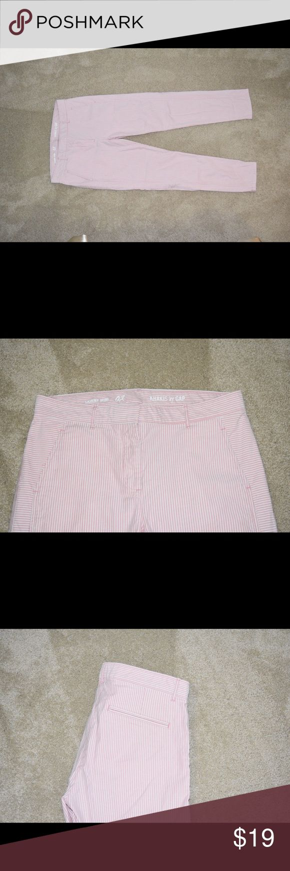 Women's Khaki pants Light pink and white stripped pants. Size two but I'm a 4 and they fit perfectly. GAP Pants