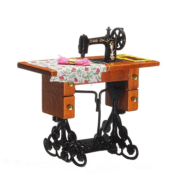 1:12 Pretend Toy Vintage Miniature Sewing Machine Furniture Toys for Barbie Doll House Decor Retro Children Toys Accessories