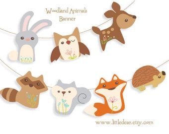 Printable Woodland Animals Banner Set 1 PDF digital download Scrapbook clipart Baby Shower Party Decorations