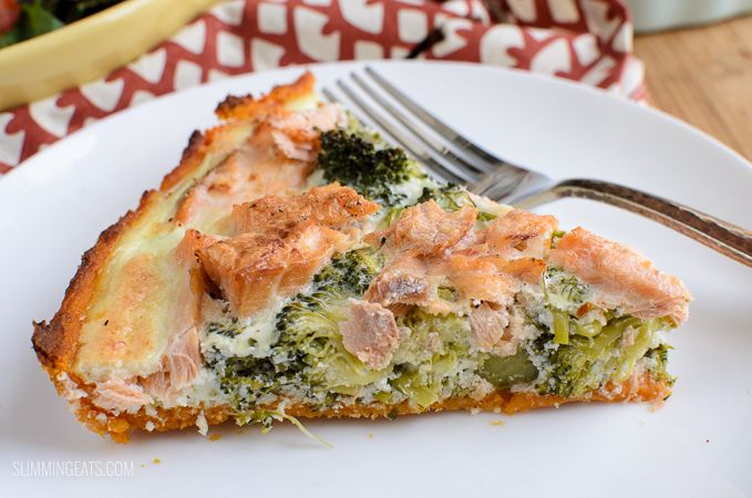 Slimming Eats Low Syn Salmon and Broccoli Quiche with Sweet Potato Crust - Slimming World and Weight Watchers friendly