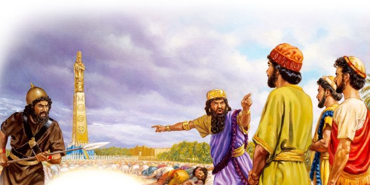Shadrach, Meshach, and Abednego refusing to bow down to the image of gold.