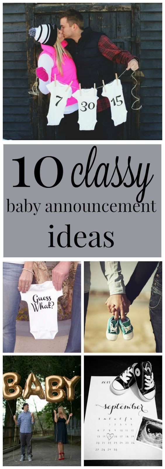 10 classy and creative pregnancy photo announcement ideas. Want to let everyone know you're expecting a baby? Here's some great inspiration for you!