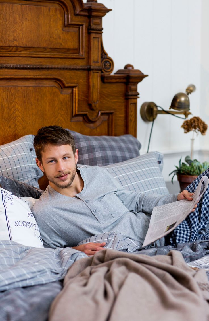 Gray bedding and soft sleepwear - perfect for Fall mornings!