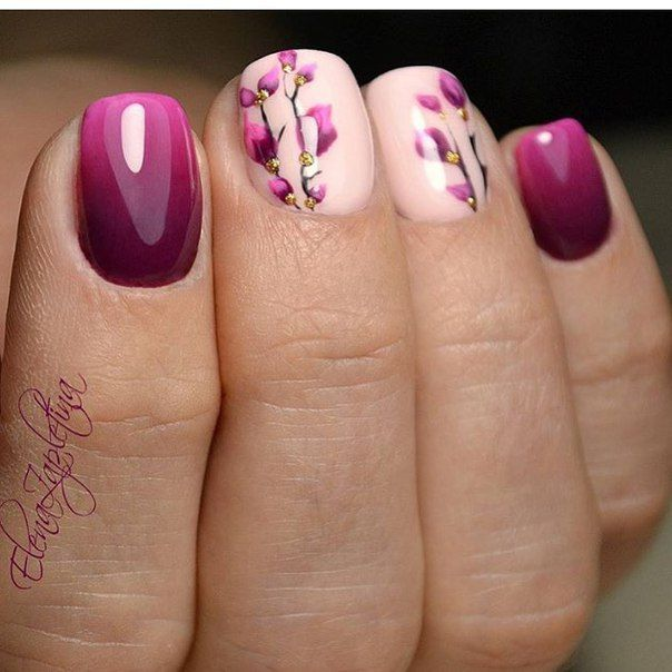 Purple flowery nail art design | Маникюр - дизайн ногтей