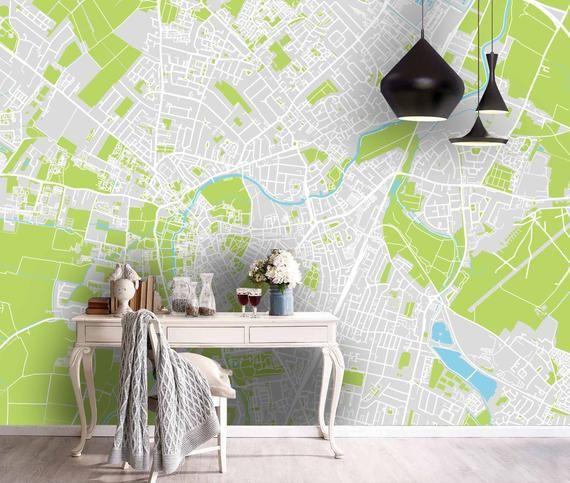 3d Green Flat City Map Wallpaper Mural Peel And Stick Etsy In 2021 Mural Wallpaper Textured Wallpaper Wall Murals