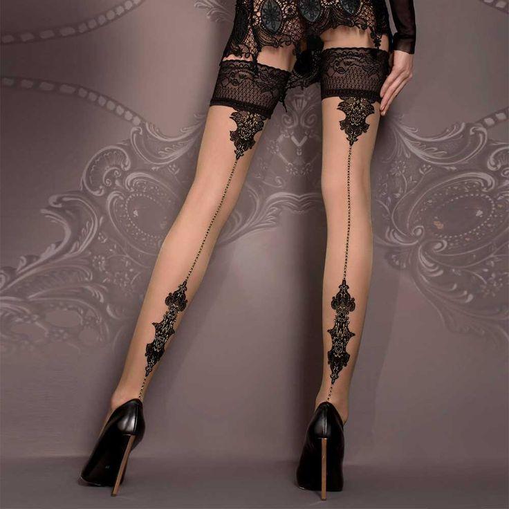 Ballerina Hosiery Vanessa kanten barok stay-ups kousen zwart/huidskleu