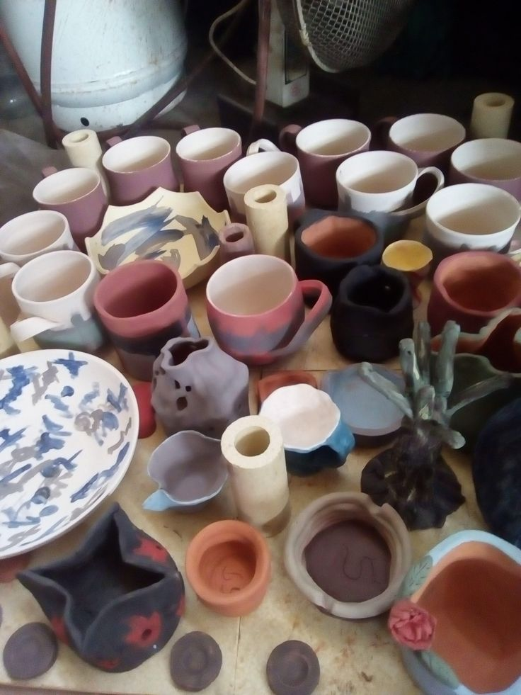 my students' and mine creations ready for the kiln