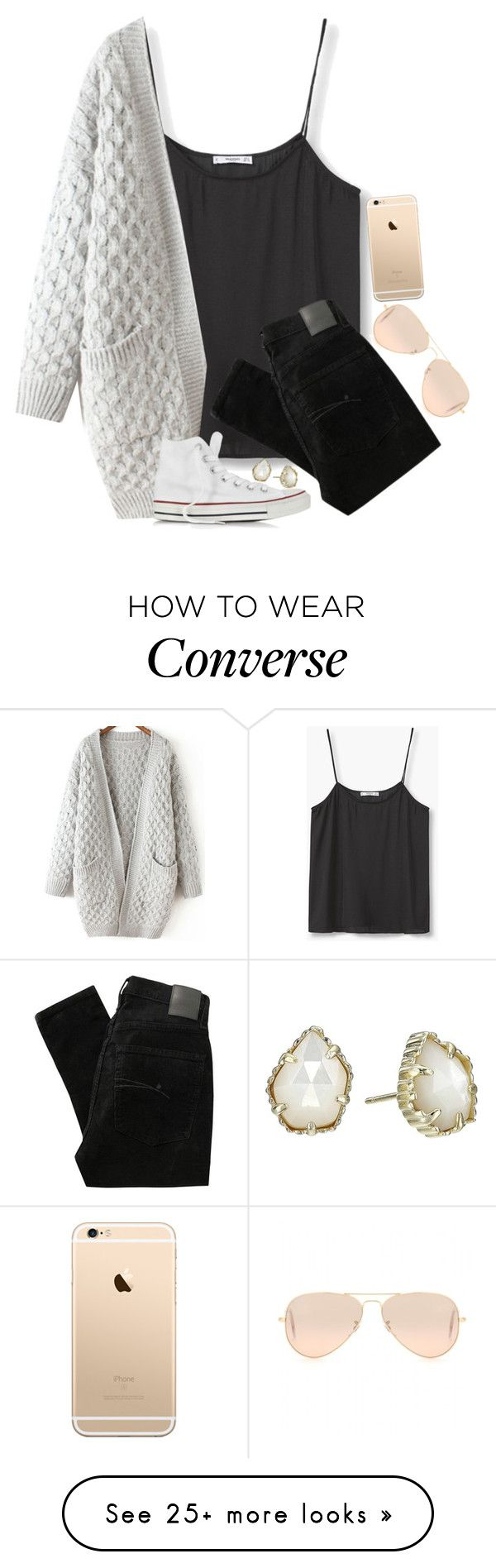 """Finally got these white converse"" by tinyblueowls on Polyvore featuring MANGO, Nobody Denim, Converse, Ray-Ban and Kendra Scott"