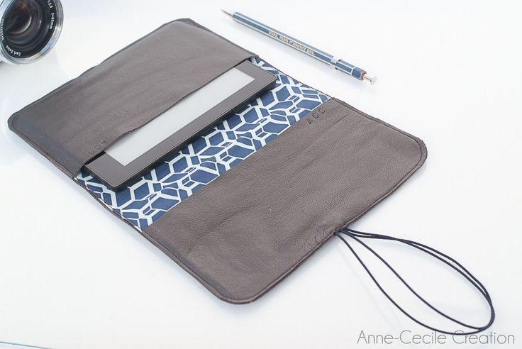 #cadeaupourelle Etui kobo liseuse Fnac Aura, protection en cuir et tissu par Annececilecreation