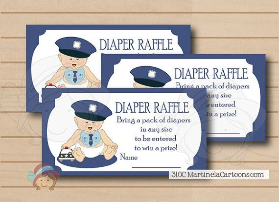 Police baby shower diaper raffle tickets, DIY cop babyshower games. Blue and gray. Instant Download Printable. AA skin tone available.