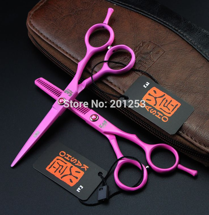 5.5Inch Pink Paint Cutting Scissors and Thinning Scissors Kits,Professional Human Hair Shears for Hairdressers LZS0409