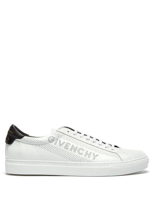 1e1d8e29d GIVENCHY GIVENCHY - URBAN STREET LOGO PERFORATED LEATHER TRAINERS - MENS -  WHITE BLACK. #givenchy #shoes