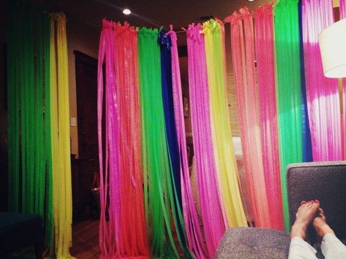 neon party - as a backdrop, So easy to do with table cloths - could hang near entrance, or over by staircase as a backdrop