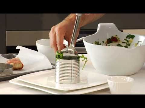 How to present your food with Curtis Stone. Repurposed a soup can for stacking technique...