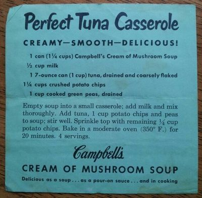 Retro tuna casserole. Contains crushed potato chips and Campbell's Cream of Mushroom Soup, so you know it's got to be good.