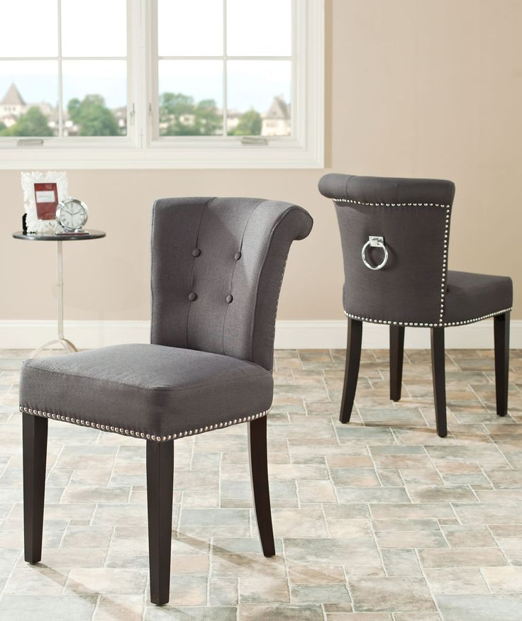 Safavieh Furniture MCR4705A-SET2 - The bent back of the Sinclaire dining chair, in charcoal fabric with espresso finish on the legs, gets a classic dressed-up punch thanks to exposed nail he
