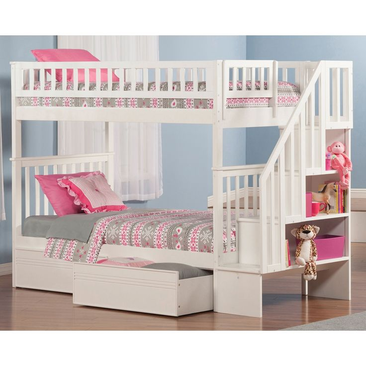 Atlantic Woodland Twin-over-twin Staircase Bunk Bed with Bed Drawers