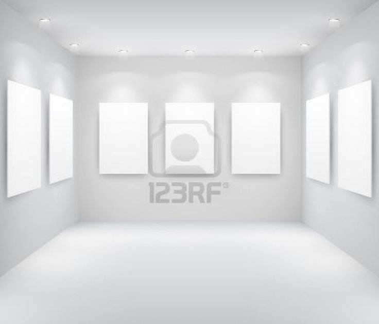 Galerie interieur met lege frames op de muur Stockfoto - 9566423