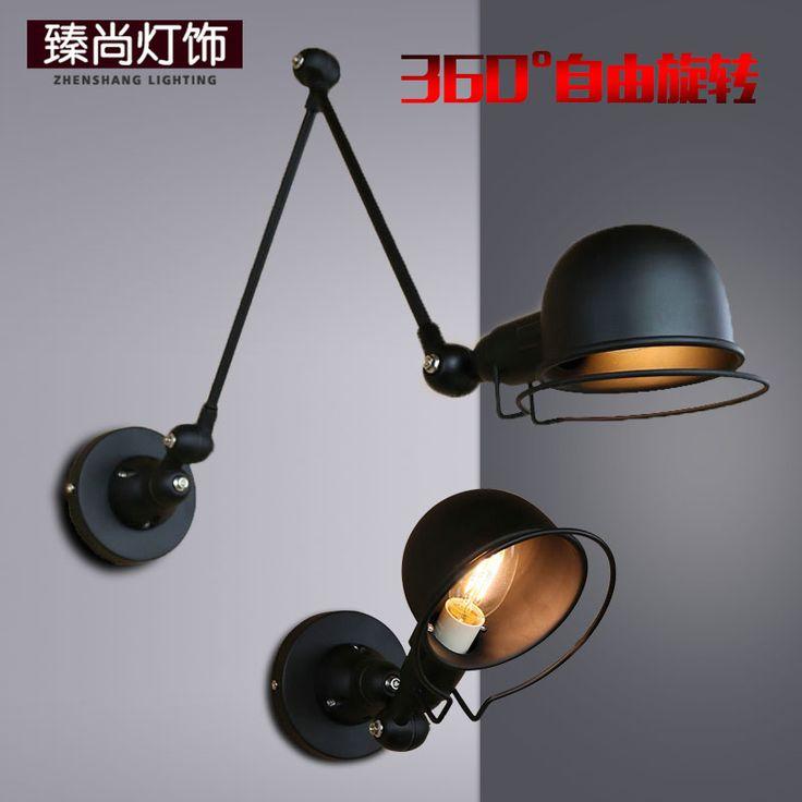 360 градусов свободное вращение творческой личности ретро железа чердака кафе-бар рокер прикроватные чтения настенный светильник - Taobao