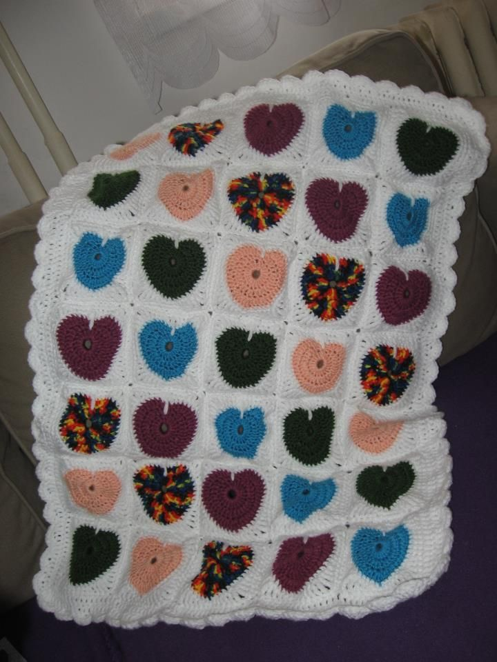 srdíčková deka #crochet #blanket #heart
