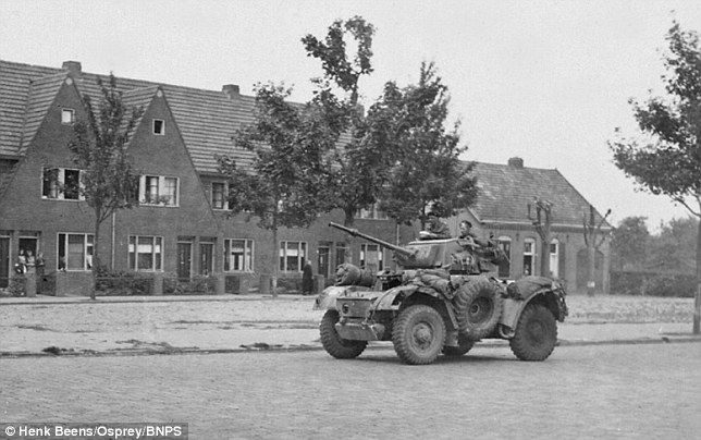 A scout car from the Household Cavalry of the Guards Armoured Division. The first British vehicle to arrive in Eindhoven on their desperate push to relieve Arnhem