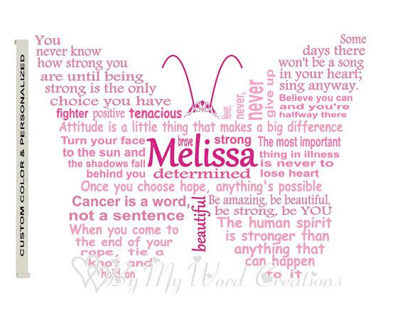 Personalized Cancer Fighter Butterfly Art by ByMyWordCreations