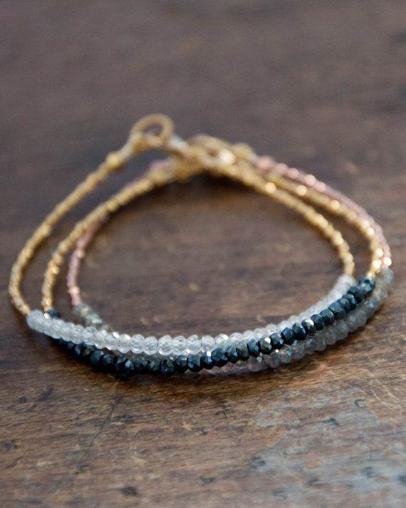 Black spinel beaded tennis bracelet with gold vermeil - friendship bracelet- minimalist