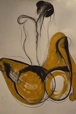 Drawing by Carmel Jenkin, Patience, mixed media on paper, 81cm x 57cm Hello September.. less angles + more curves Facebook Page This piece will be available for purchase on Daily Painters September...