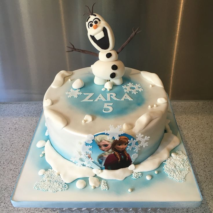 Frozen and Olaf cake. Chocolate mud cake and milk chocolate ganache. Gumpaste and fondant figurine and edible image of Anna and Elsa. Fondant snow.