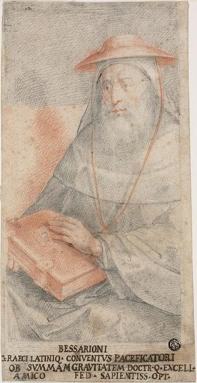 Federico Zuccaro (Federico Zuccari), c.1540/1541-1609, Italian (attributed to), Bessarion, c.1560. Red and black chalk on ivory laid paper, 30.6 x 15.7 cm. Art Institute of Chicago. Mannerism.