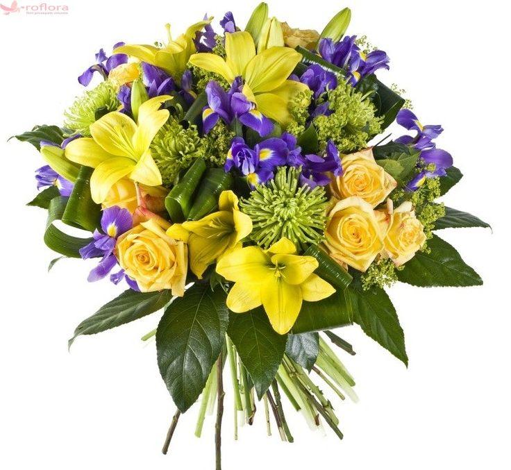 Buchet de flori proaspete ce contine trandafiri galbeni, irisi violet, crini galbeni, crizanteme, verdeata si este legat cu o panglica asortata. Este livrat in aceeasi zi de un florar local cu experienta, partener Roflora.
