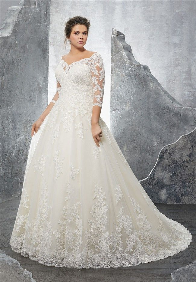 A Line Sweetheart Three Quarter Sleeve Tulle Lace Plus Size Wedding Dress #pluss…
