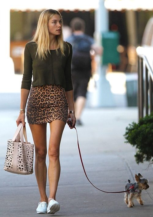 Shop Jessica Hart's look for $81:  http://lookastic.com/women/looks/green-cropped-top-and-brown-mini-skirt-and-white-low-top-sneakers-and-beige-shopper-handbag/998  — Green Cropped Top  — Brown Leopard Mini Skirt  — White Low Top Sneakers  — Beige Leopard Shopper Handbag