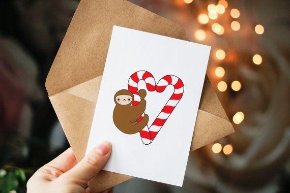 Carte de Noël paresseux des cannes de bonbon par BeccyKittyDesigns