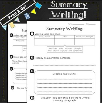 Summary Writing Unit:(4th, 5th, 6th Grade) Write a summary in 4 simple steps! This packet is a step-by-step process for summary writing. It provides a visual template that makes summarizing easy! Each step is broken down into manageable pieces. It also provides organizers, activities, and samples. (paid )
